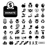 Charity and donation icons set Royalty Free Stock Image