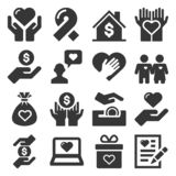Charity and Donation Icons Set on White Background. Vector royalty free stock images