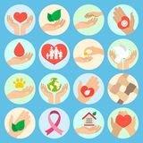 Charity and donation icons Royalty Free Stock Images