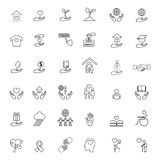 Charity and donation line icons set Stock Image