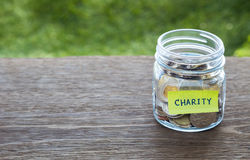 Charity donation money glass jar. World coins in money glass jar with CHARITY word label place on natural wood table, blank space for text Royalty Free Stock Photo
