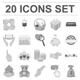 Charity and donation monochrome icons in set collection for design. Material aid vector symbol stock web illustration. Royalty Free Stock Images