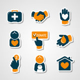 Charity and donation paper cut icons Royalty Free Stock Photography