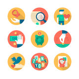Charity and Donation. Part 2. Flat icons collection of charity in business, giving help to non-profit, donating and fund raising Royalty Free Stock Photo