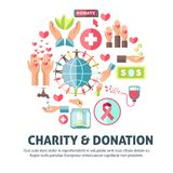 Charity and donation symbols vector poster. Charity and donation poster for social foundation action. Vector symbols for blood donation or money and helping help royalty free illustration
