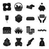 Charity and donation set icons in black style. Big collection of charity and donation vector symbol stock illustration Stock Photos
