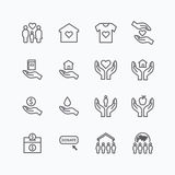 Charity and donation silhouette icons flat line design vector Royalty Free Stock Photo