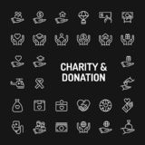 Charity & Donation Simple Line Icon Set stock photography