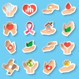 Charity and donation stickers Stock Photos