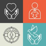 Charity, donation and volunteer concept backgrounds with vector logo line style Stock Photo