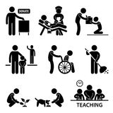 Charity Donation Volunteer Helping Pictogram. A set of pictogram representing charity, donations, and volunteers Stock Images