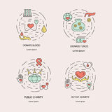 Charity and donation. Volunteers needed concepts set for web banners, printed materials, infographics, websites. Creative icons in thin line flat design stock illustration