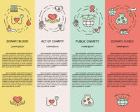 Charity and donation. Volunteers needed concepts set for web banners, printed materials, infographics, websites. Creative icons in thin line flat design vector illustration