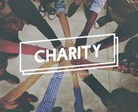 Charity Donations Support Aid Assiting Giving Welfare Concept stock photography