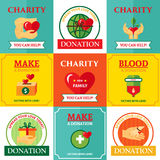 Charity Emblems Design Flat Icons Composition. Nonprofit charity helping people organization 9 flat emblems icons square design with heart symbol abstract Stock Photos