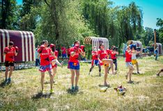 Charity Family festival – demonstration training of women kickboxing team royalty free stock images