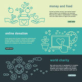 Charity, family help, donate life, nonprofit organization, humanitarian vector banners set. Donation money and food, charity and online donation illustration Royalty Free Stock Photo