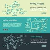 Charity, family help, donate life, nonprofit organization, humanitarian vector banners set Royalty Free Stock Photo