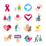 Charity flat icons set Royalty Free Stock Photography
