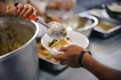 Charity food for the poor people to enjoy eating.  royalty free stock photo