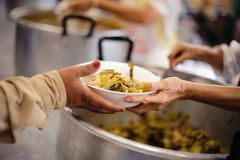 Charity food for the poor people to enjoy eating.  royalty free stock image