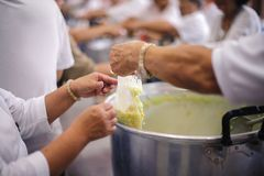 Charity food for the poor people to enjoy eating.  royalty free stock photos