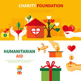 Charity Foundations 2 Flat Banners Set. Charity foundations for humanitarian aid 2 flat horizontal banners set with heart and donation symbols abstract vector Royalty Free Stock Image