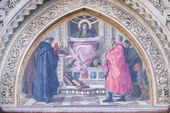 Charity among the founders of Florentine philanthropic institutions, Florence Cathedral Stock Photos