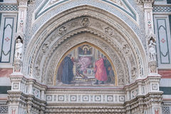 Charity among the founders of Florentine philanthropic institutions, Florence Cathedral Stock Photo