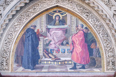 Charity among the founders of Florentine philanthropic institutions, Florence Cathedral. Charity among the founders of Florentine philanthropic institutions Royalty Free Stock Image
