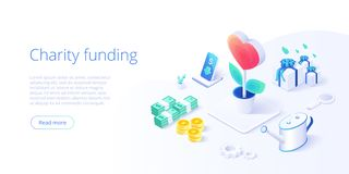Charity fund or care in isometric vector concept. Volunteer community or donation metaphor illustration. Web banner layout for. People help or support vector illustration