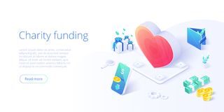 Charity fund or care in isometric vector concept. Volunteer community or donation metaphor illustration. Web banner layout for. People help or support royalty free illustration