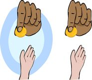 Charity and Giving. Hands and giving a gold coin symbolizing charity for Ramadan, Christmas or other occasions. Isolated and colored background variations Royalty Free Stock Image