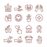 Charity giving, sponsorship, donation, humanitarian, money to child vector linear icons Stock Photography
