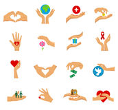 Charity Hands Flat Icon  Set. Flat  icon set with hands in different gestures symbols of charity care help and love vector illustration Royalty Free Stock Image