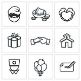Charity. Help the homeless and poor people icons set. Vector Illustration. Stock Photos