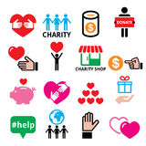Charity, helping other people icons Royalty Free Stock Photo