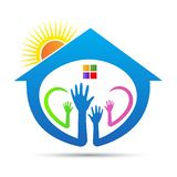 Charity home help people logo. A vector drawing represents helping hands charity home for caring people logo design stock illustration
