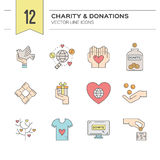 Charity Icons. Charity and donation icons made in modern line style. Helping hand vector illustration. Vector symbols of fundraising, charity work, label for non royalty free illustration