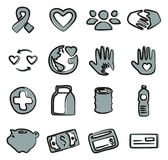 Charity Icons Freehand 2 Color Royalty Free Stock Photo