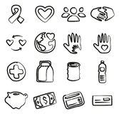Charity Icons Freehand Stock Photo
