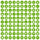 100 charity icons hexagon green. 100 charity icons set in green hexagon isolated vector illustration Royalty Free Stock Image