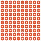 100 charity icons hexagon orange. 100 charity icons set in orange hexagon isolated vector illustration Vector Illustration