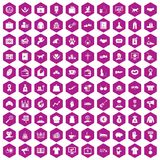 100 charity icons hexagon violet. 100 charity icons set in violet hexagon isolated vector illustration Royalty Free Stock Photography