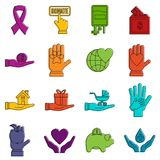 Charity icons doodle set Stock Photos