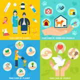Charity icons set flat Royalty Free Stock Photo