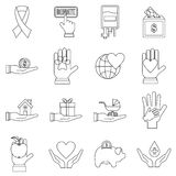 Charity icons set, flat style Stock Images