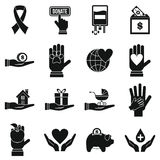 Charity icons set, flat style Stock Photos