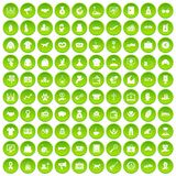 100 charity icons set green circle. Isolated on white background vector illustration Royalty Free Stock Photography
