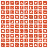 100 charity icons set grunge orange. 100 charity icons set in grunge style orange color isolated on white background vector illustration Stock Photo